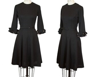 ON SALE 1960s Dress ~ LBD Little Black Dress Ruffle Sleeve Fit and Flare Dress