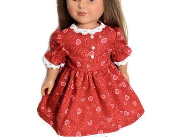 Valentine's Day Doll Dress, Red Doll Dress with Hearts, 18 Inch Doll Clothes, Sparkly Red Dress, 18 Inch Doll Dress