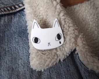 White cat face brooch - White cat brooch - White cat - cat brooch - Cat jewellery - I like cats - Acrylic jewellery - Acrylic brooch - Cats