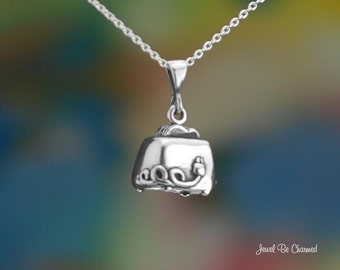 "Sterling Silver Toaster Necklace with 16-24"" Chain or Pendant Only 925"