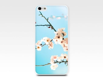 floral iphone case iphone 4 4s 5 5s 6 case botanical cherry blossom case photography artsy iphone 5 5s case pastel blue flower iphone 4 case