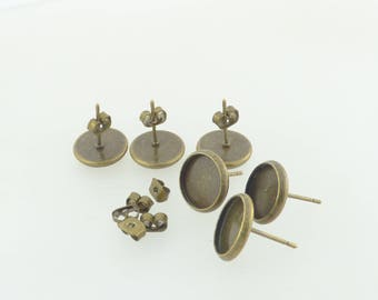 bronze 3 pairs of stud earrings 10 MM cabochon