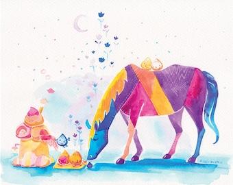 Rainbow Horse, Magical Buns Print - Mystical Morning Watercolor - 8x10 - Children Print, Kids Wall Art, Kids Wall Decor, Colorful Horse