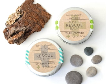 Travel set little flower soap co on the go muscle rescue balm and skin rescue balm tins in a linen drawstring bag bath and beauty bath body