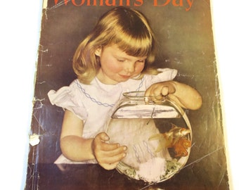 Vintage Woman's Day Magazine February 1950 Color Ads Retro Birthday Gift Womens Interest Mid Century Crafts Fashions