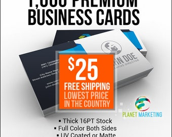 1000 Full Color Front/Back 16PT Business Cards 25 Bucks + FREE Shipping