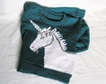 Womens Unicorn Sweater MADE TO ORDER Knit Pullover, Custom Color & Size