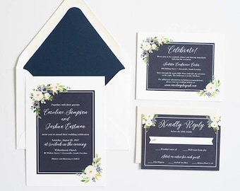 Floral Wedding Invitation, Watercolor Floral Wedding Invite, Navy Wedding Invitation:  CAROLINE.
