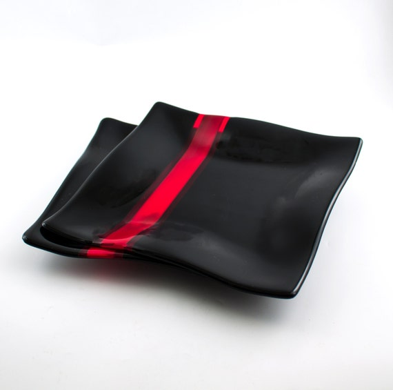 sc 1 st  Etsy & Black and Red Glass Dinnerware Fused Glass Dinner Plates