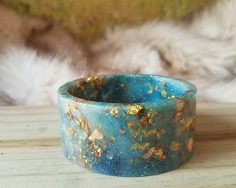 Aqua Blue Resin Cuff Bangle