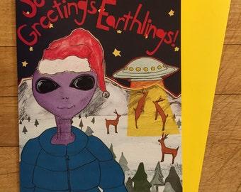Seasons Greetings Earthling Holiday Card