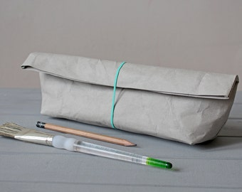 Pencil Case, made from light grey washable paper, Concrete look, Minimalist style, Desk organizer, Artist, Architect, Back to School