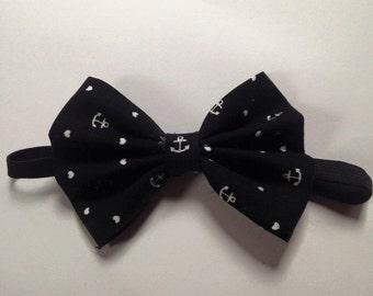 Black And White Nautical Bow Tie
