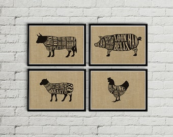 Meat cuts print, Meat cuts poster, Butcher diagram, Butcher chart, Butcher print, Rustic kitchen decor, Burlap kitchen dec