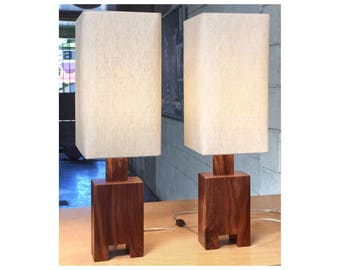 Modern Table Lamp Pair With Walnut Base And Natural Linen Shade, Cost 135  Each,