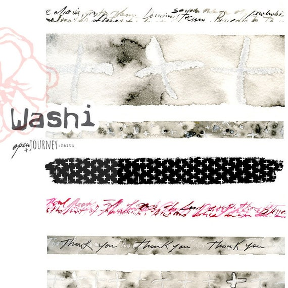 Washi Strips, watercolors and cross design - digital download for bible journaling, card making and craft