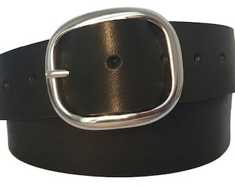 Black Glazed Leather Snap Belt - Full Grain Leather