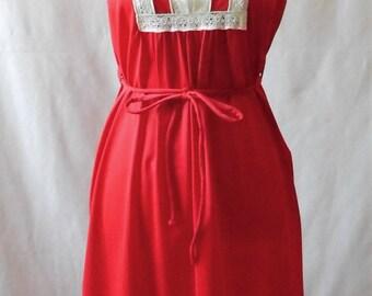 Vintage 1970s Floor Length Red Miss Elaine Nightgown, Vintage Nightgown, Vintage Nightie, Retro Nightgown, Retro Nightie, Red Nightgown