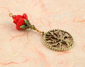 Blessingway bead - Golden Red Rose Tree of Life - Mother Blessing bead, mama goddess
