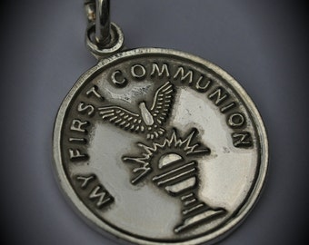 Genuine Sterling Silver My First Communion Pendant
