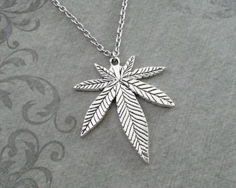 Pot Leaf Necklace LARGE Marijuana Leaf Necklace Weed Gift Hemp Leaf Pendant, Weed Necklace Pot Necklace Pot Jewelry Marijuana Necklace 420