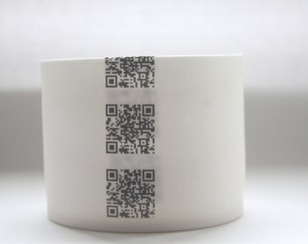 White stoneware English fine bone china tealight candle holder, small vase with a strip of QR codes - illustrated ceramics