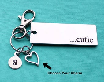 Personalized Cutie Key Chain Cutie Stainless Steel Customized with Your Charm & Initial - K738