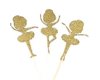 "12 Gold Glitter Ballerina Cupcake Toppers 2"" Tall"