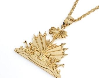 Haiti Haitian Map Necklace, gold  color