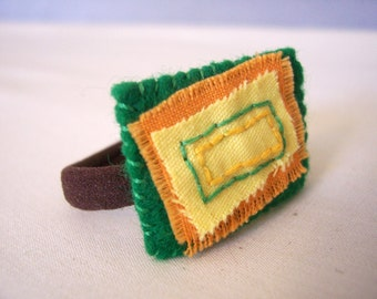 Hair Band - Ponytail Holder Square Geometric Unisex Green Yellow Orange Dread Band Hipster Small Funky