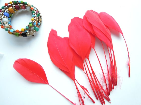 10 Red stripped coque tail feathers. Red stripped feathers 10-15 cm. Stripped feathers. Crafts & millinery trimmed red feathers. UK Seller