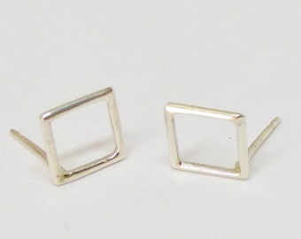 Modern Sterling Silver Square Earrings, Geometric Earrings, Silver Stud Earrings, Small Square Post Earring, Tiny Minimalist Studs, Gift