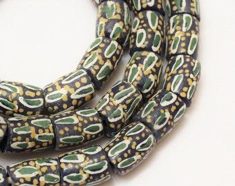 Blue African Powder Glass Beads (8), Tribal Beads, Blue Green Yellow Beads