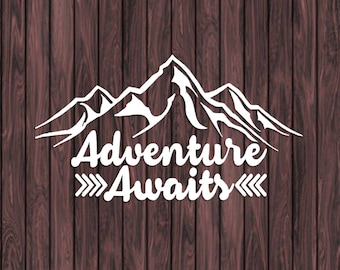 Adventure Awaits Decal, Mountain Decal, Car Window Decal, Car Decal, Laptop Decal, Camping Decal, Vinyl Stickers