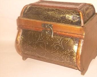 Wooden Decorative Pirate / Jewelry Box / Black Gold Inlay