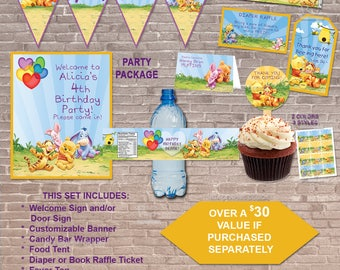 Baby Pooh PARTY PACKAGE/ Instant Download & Editable / Party / Winnie the Pooh / Stickers / toppers/ favors / banner / label / PRINTABLE