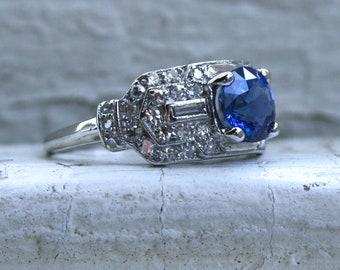 Vintage Art Deco Platinum Diamond and Natural Sapphire Engagement Ring - 2.92ct.