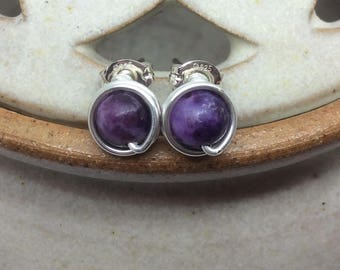 Lepidolite Wire Wrapped Studs Sterling Silver Purple Studs Lepidolite Earrings Purple Studs Lepidolite Genuine Gemstone Earrings Handmade UK