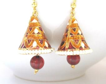 Orange Red Meenakari Jhumka Earrings