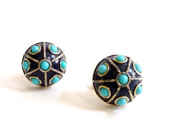 Colorful Vintage Enamel Cufflinks 1960s