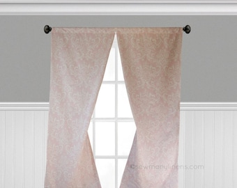 Light Baby Pink Curtains Floral Window Treatments Custom Drapes Nursery  Girls Bedroom Curtain Panels