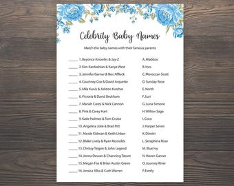 Baby Boy Shower Games, Celebrity Baby Name Game, Baby Shower Boy, Blue Baby Shower, Printable Baby Shower, Celebrity Baby Names,  S001