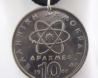 1988 Greek Atom Coin, 10 Drachmes, Mens Necklace, Womens Necklace, Coin Pendant, Leather Cord, Vintage