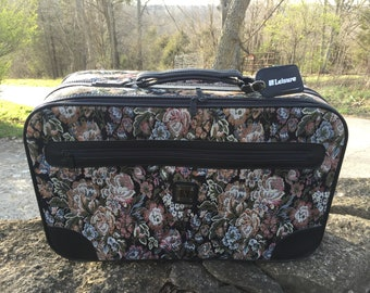 Mid Century Leisure Tapestry Footed Luggage Bag,Paisley Suitcase,Overnight Bag,Collector Item