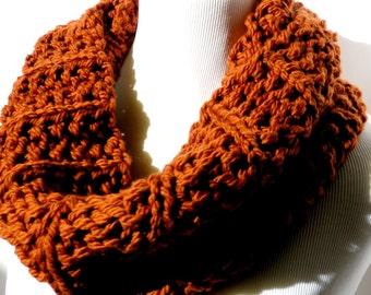 Burnt Orange Scarf Hand Knit Scarf Rust Infinity Scarf Burnt Orange Scarf Chunky Scarf Pumpkin Color Scarf Circle Scarf Cowl Scarf Ferris