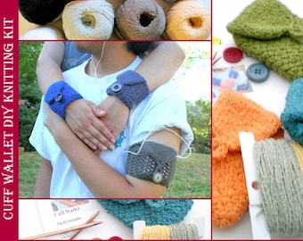 Hand Knitting DIY Kit with Pattern for Basic Cuff Wallet Case (for iPod, MP3, ID, Creditcards, etc) - Solid and Two Tone Cuffs