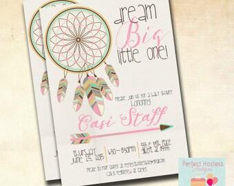 Girl Boho Dream Catcher Baby Shower Invitation