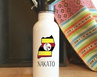 Custom Stainless Steel Uganda Water Bottle, Back to school, personalized, Africa, Adoption, Travel, Mission, Custom
