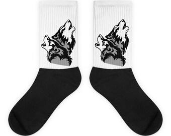 Wolf Socks, Dog Socks, Animal Sock, Warm Socks, Mens Socks, Womens Socks, Howling wolf Socks, Custom Socks,