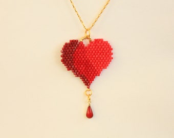 Heart necklace, red necklace, red heart necklace, pink necklace, Seed beads, beaded necklace, miyuki necklace, beaded jewelry, gifts for her